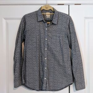 GAP Floral Chambray Fitted Boyfriend Buttondown